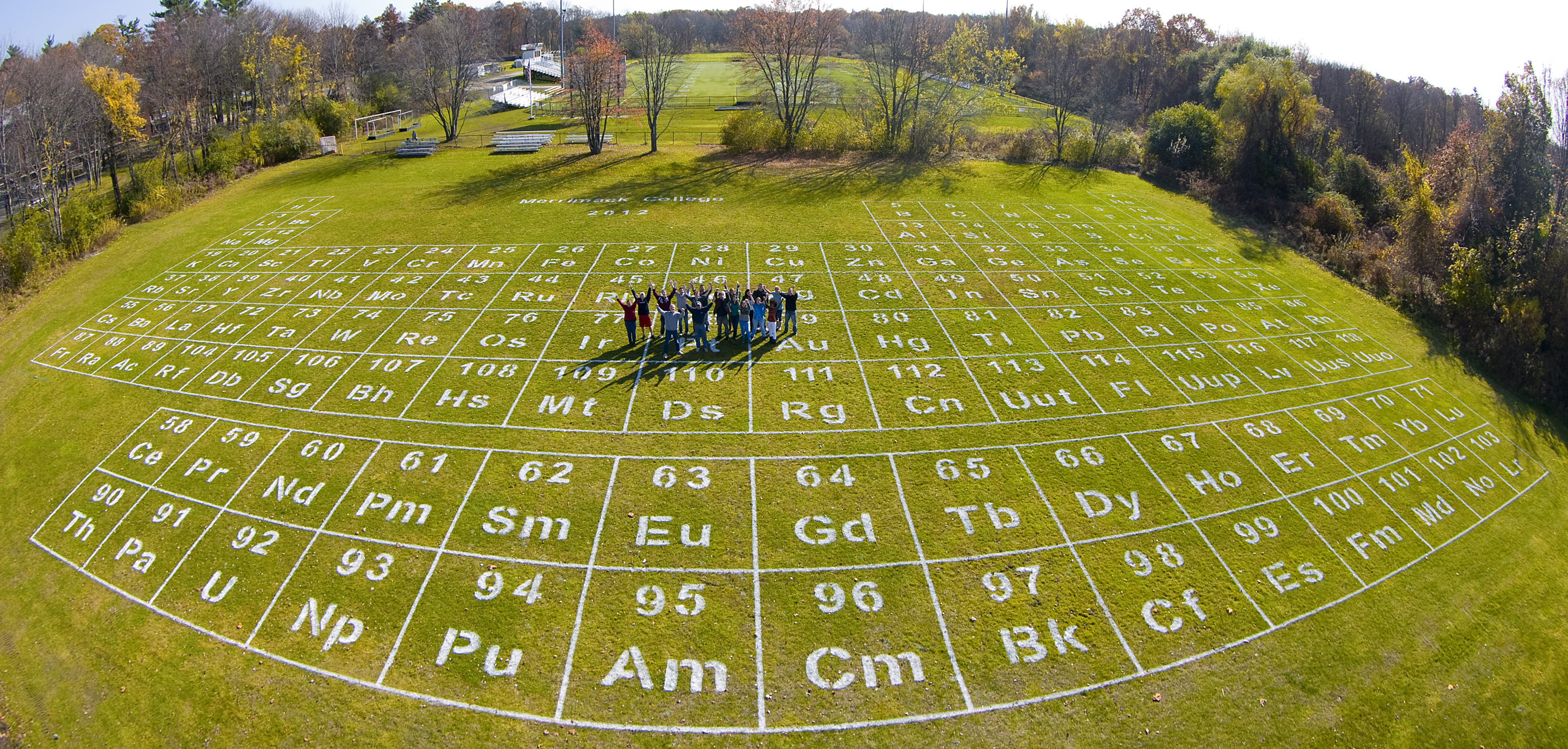 The table on a field at merrimack college measures 216 feet by 130 the table on a field at merrimack college measures 216 feet by 130 feet which is larger than any other periodic table gamestrikefo Image collections